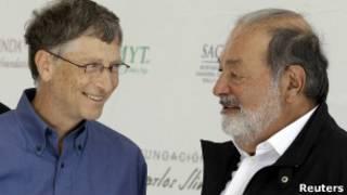 Los empresarios Bill Gates y Carlos Slim. Foto de archivo