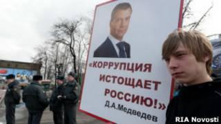 Молодой человек с плакатом на митинге против коррупции на Пушкинской площади в Москве