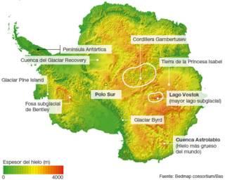 Mapa del espesor del hielo en la Antártica