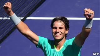 Nadal ăn mừng chiến thắng ở Indian Wells