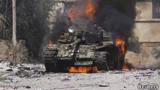 Горящий сирийский танк