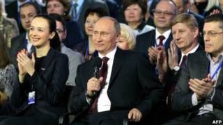Владимир Путин с участниками конференции Народного фронта в Ростове-на-Дону 29 марта 2013 года