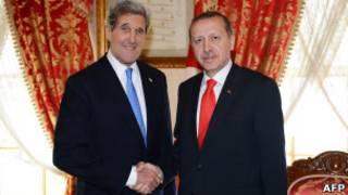 ABD Dışişleri Bakanı Kerry ve Türkiye Başbakanı Erdoğan