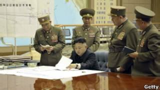Ким Чен Ын в окружении генералов