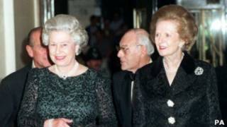 Queen Elizabeth and Lady Thatcher