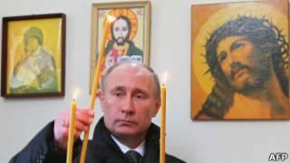 Владимир Путин в церкви