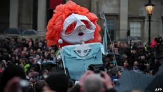 Hình nộm Thatcher trong một cuộc biểu tình phản đối