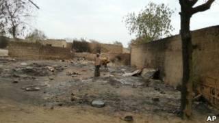 Разрушения в городе Бага