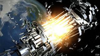 Representação artística de uma explosão de destroços na órbita da Terra (Imagem: Agência Espacial Europeia)