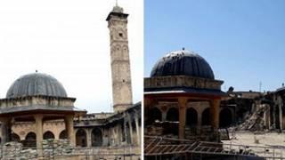 Ümeyye Camisi'nin minaresi yıkıldı