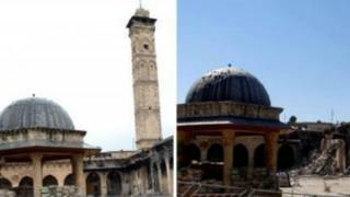 A mesquita com e sem o minarete (AFP)