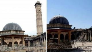 Разрушенный минарет в Алеппо