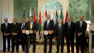 جون كيري مع وفد الجامعة العربية