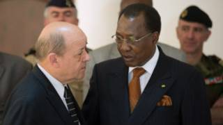 """Jean-Yves Le Drian, et Idriss Déby Itno, le président du Tchad, pays où sera basé le dispositif antiterroriste """"Barkhane"""""""