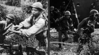 Quân miền Bắc (trái) và miền Nam trong chiến tranh