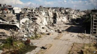 सीरियाई गृह युद्ध से होम्स में बहुत तबाही हुई है
