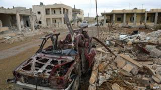 Thị trấn Saraqeb hoang tàn sau khi bị quân chính phủ tấn công