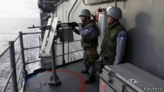 Marinheiros de Taiwan durante exercício naval no Mar do Sul da China na última semana   Foto: Reuters