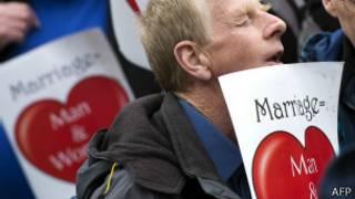 Manifestação contra casamento gay em Londres (AFP)