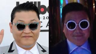 El verdadero (izq., foto: Getty) y el falso Psy (der., foto: Naomie Harris)