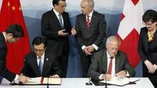امضای قرارداد چین و سوئیس