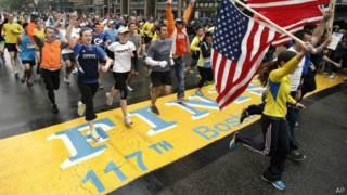 Финиш Бостонского марафона