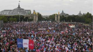 Демонстрация в центре Парижа