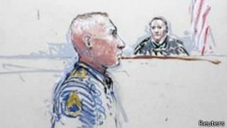 نقاشی از حضور گروهبان بیلز در دادگاه نظامی