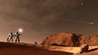 Ilustración de una posible misión tripulada a Marte