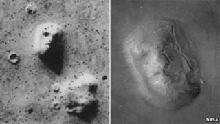 A face de Marte fotografada em 1976 e recentemente pela Nasa (Nasa)