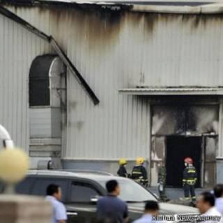 吉林德惠家禽加工廠屠宰場爆炸現場(新華社圖片3/6/2013)
