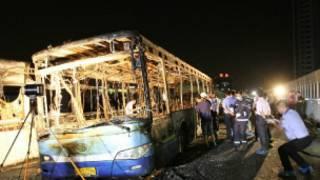 Chiếc xe buýt bị phóng hỏa