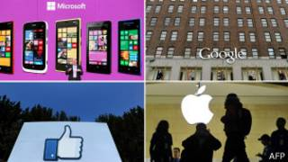 Монтаж Google, Microsoft, Apple, Facebook