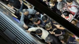 El metro de Sao Paulo abarrotado