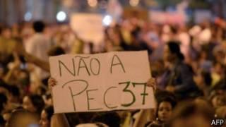 Una pancarta en una manifestación