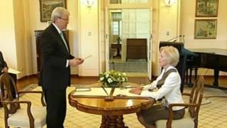 प्रधानमंत्री पद की शपथ लेते केविन रड