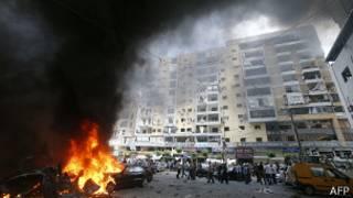 Пожар в результате взрыва в Бейруте