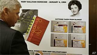 O promotor Daniel Conley mostra um quadro com as provas relativas ao caso de Mary Sullivan (AP)
