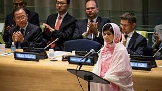 Malala addressing UN