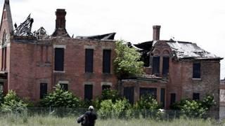 Casa abandonada en Detroit, Estados Unidos