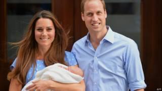 William, Kate y el pequeño George.