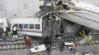 स्पेन में ट्रेन हादसा