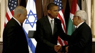 عباس ونتنياهو مع أوباما