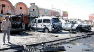 На месте взрыва автомашины
