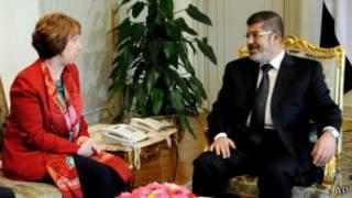 Cathrine Ashton and Mohammad Morsi