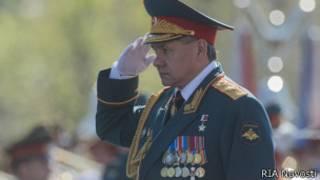 Сергей Шойгу на параде, посвященном Дню победы