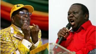 Морган Цвангираи (справа) и Роберт Мугабе