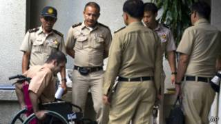سعید مرادی هنگام ورود به دادگاه در تایلند