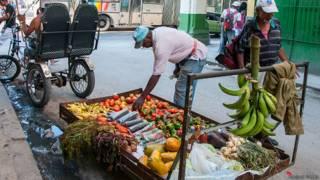 Vendedores de verduras con los alimentos colocados a pocos centímetros de las aguas albañales.