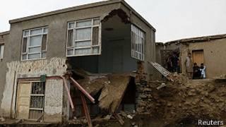 Casas destrozadas por inundación, Afganistán.